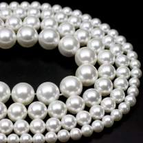"""Oameusa 12mm Shell Pearl Electroplated Pearl White Round Beads Gemstone Beads Loose Beads Agate Beads for Jewelry Making 15"""" 1 Strand per Bag-Wholesale"""