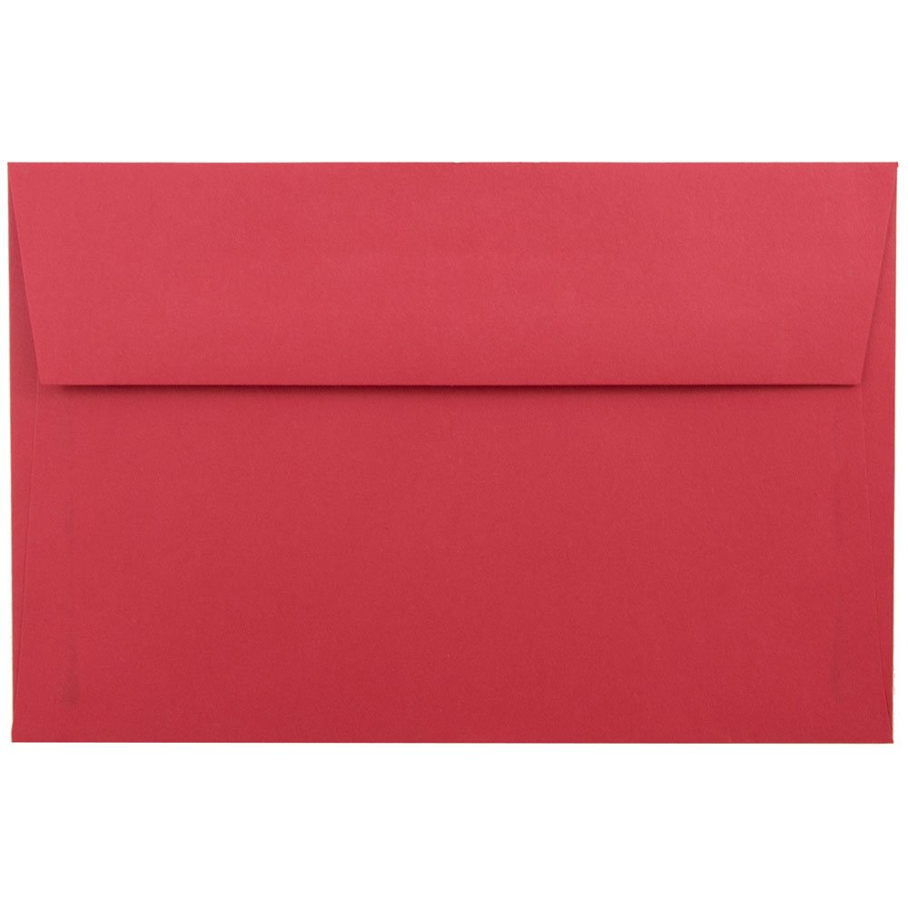 JAM PAPER A9 Colored Invitation Envelopes - 5 3/4 x 8 3/4 - Red Recycled - 100/Pack