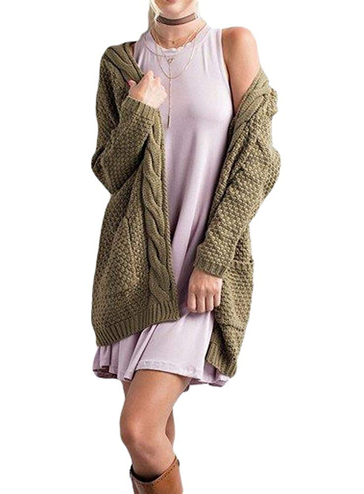 Hestenve Women's Sweaters Open Front Long Sleeve Boho Boyfriend Knit Chunky Cardigan Sweater