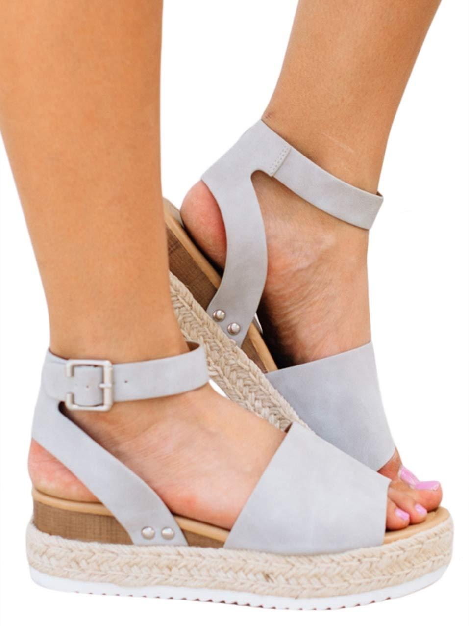 Syktkmx Womens Platform Slingback Sandals Summer Wedge Ankle Strap Open Toe Espadrilles Grey