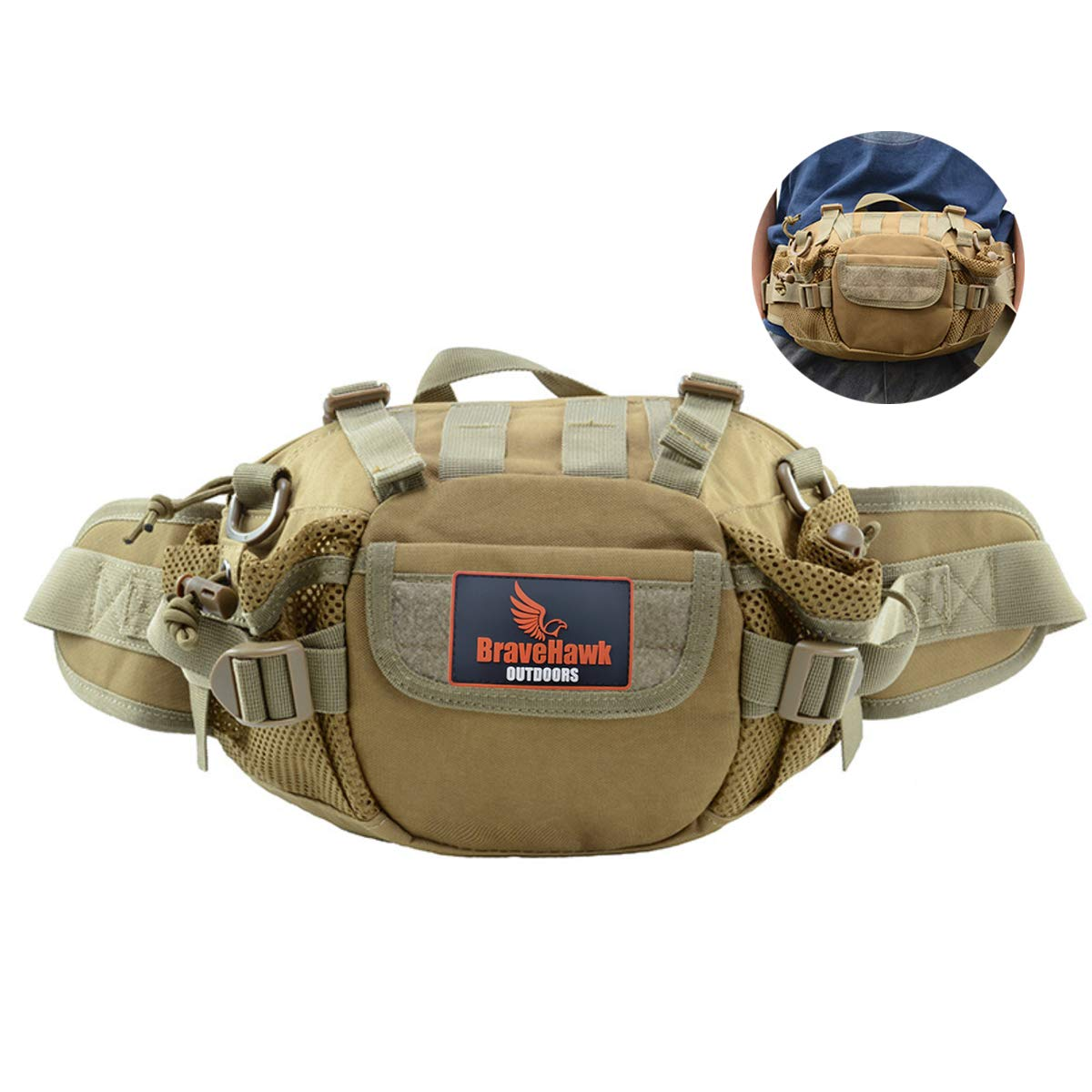 BraveHawk OUTDOORS Tactical Waist Fanny Pack, 900D Military Nylon Oxford Water Resistant Multipurpose MOLLE Hip Belt Bag Outdoor Hiking Bumbag with Shoulder Strap