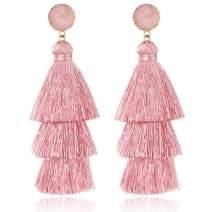 TOJEAN Christmas Day Gifts 'Loving Story 'Tassel Earrings, Bohemian Drop Dangle Tiered Tassel Drusy Stud Earrings, Birthday Gifts for Women