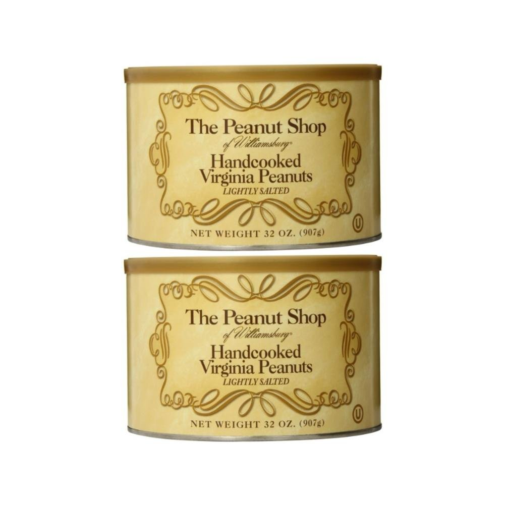 The Peanut Shop of Williamsburg Handcooked Virginia Peanuts, Lightly Salted, 32 Ounce (Pack of 2)