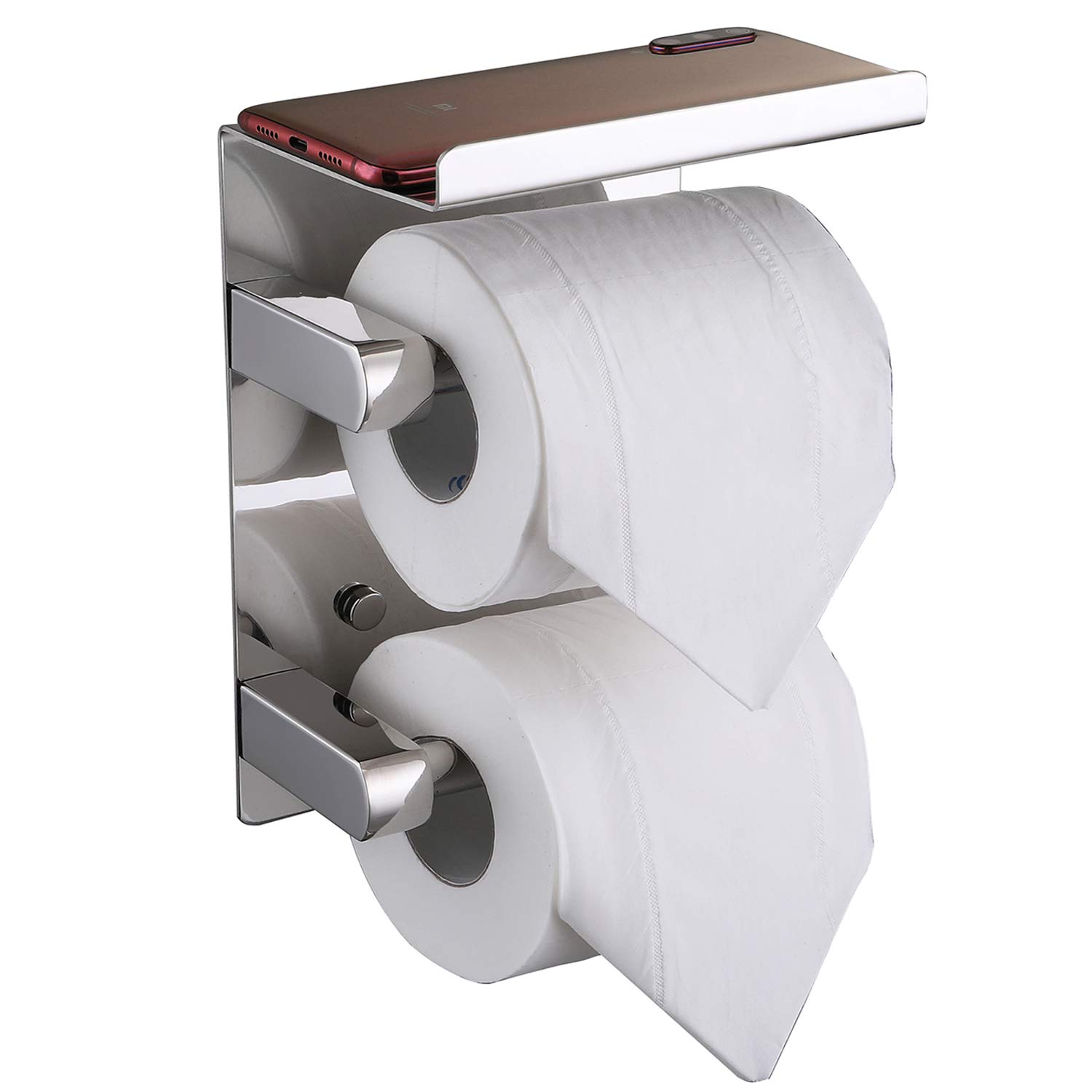 FANHAO Upgrade Double Roll Toilet Paper Holder Chrome with Phone Shelf, SUS 304 Stainless Steel Bathroom Accessories Tissue Roll Dispenser Storage Rack Multi-Purpose Shelf Wall Mounted, Polished Steel