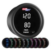 GlowShift 10 Color Digital Dual Temperature & Pressure Gauge Kit - for Boost, Oil Pressure, Water & Transmission Temp - Includes Electronic Sensors - 2 Multi-Color LED Displays - Tinted Lens - 52mm