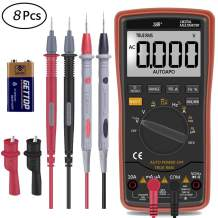 Auto Manual Ranging Digital Multimeter,TRMS 6000 with Battery Alligator Clips Test Leads AC/DC Volt Current Resistance Multitester with Capacitance and Temperature Measurement