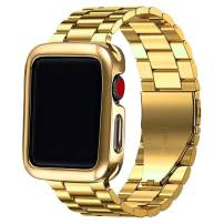 PUGO TOP Compatible with Stainless Steel Metal Apple Watch Band 42mm 38mm 40mm 44mm Series 5/4/3/2/1 Men Women with Classic Butterfly Buckle. (Shiny Gold, 38mm/40mm)