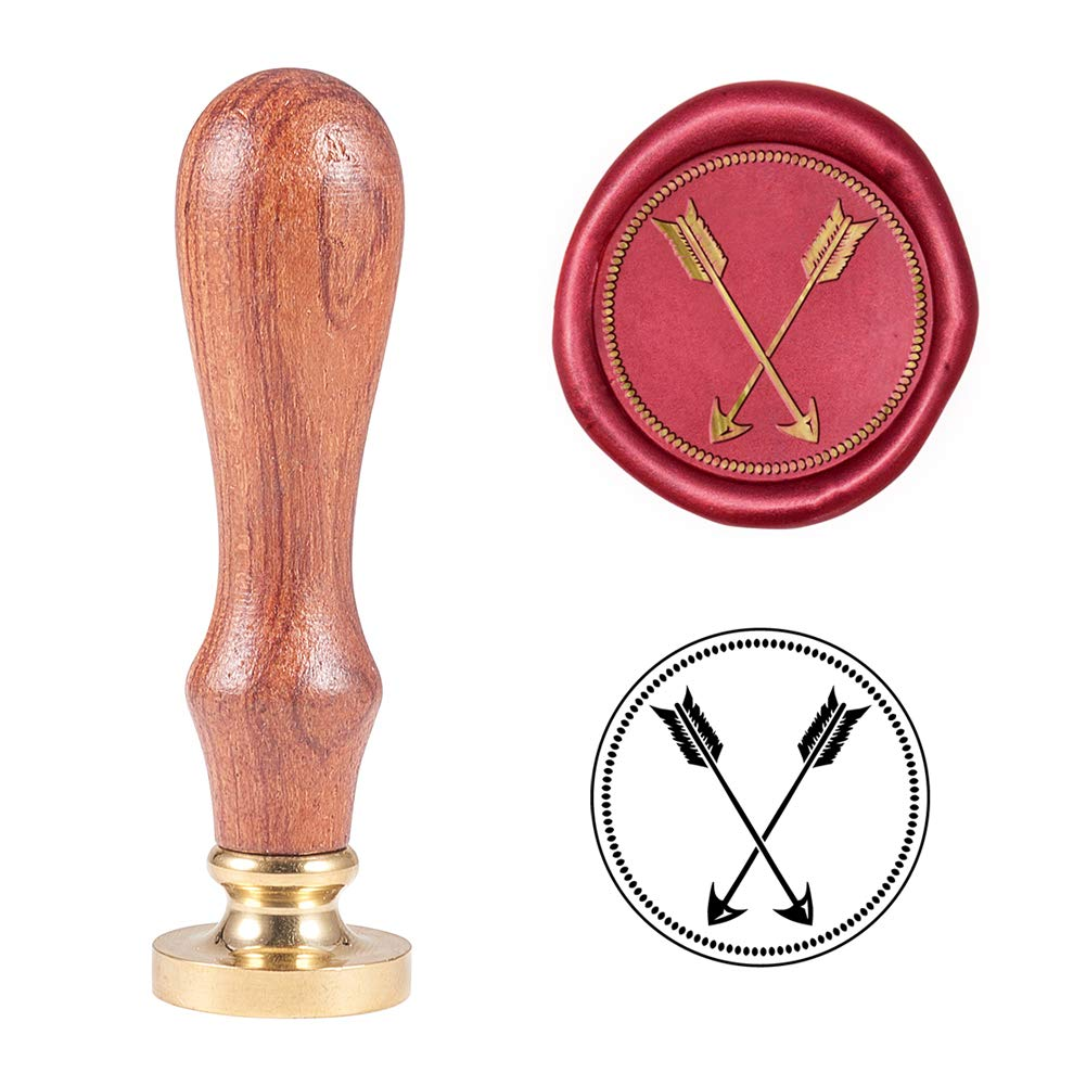 PH PandaHall Cupid Arrow Wax Seal Stamp Wooden Handle Removable Sealing Stamp for Valentine's Day Embellishment of Envelopes, Invitations, Gift Packing