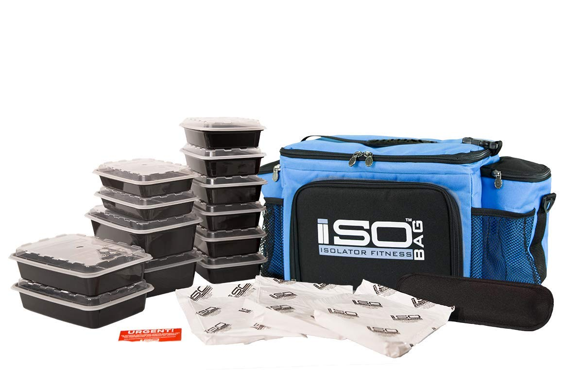 Meal Prep Lunch Box ISOBAG - Large Insulated 6 Meal Prep Bag/Cooler With 12 Containers, 3 Ice Packs & Shoulder Strap (Light Blue/Black Accent) - MADE IN USA