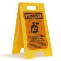"""SmartSign """"Warning - Silica Work Area, Respirator And Goggles Required"""" Folding Floor Sign 
