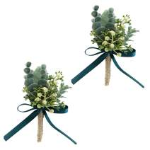 ChezMax Wedding Handmade Corsage Fake Succulent Eucalyptus Plants Realistic Greeny Boutonniere Wedding Decor 2pcs