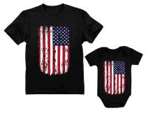 4th of July Vintage USA Flag Patriotic Shirts Father & Baby Matching Set Outfit