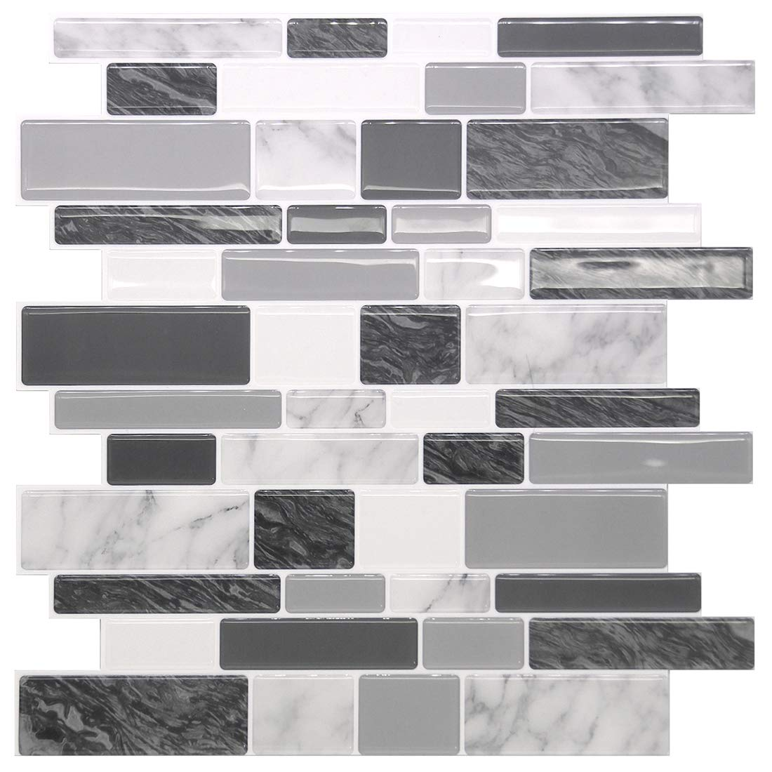 STICKGOO Marble Look Peel and Stick Tile Backsplash, Kitchen Backsplash Peel and Stick, Decorative Self Adhesive Backsplash Tiles in Grey (Pack of 1, Thicker Design)