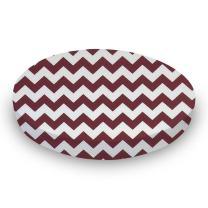 SheetWorld Fitted Oval Crib Sheet (Stokke Sleepi) - Burgundy Chevron Zigzag - Made In USA