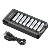 AAA Rechargeable Batteries 8 Pack, POWEROWL1000mAh High Capacity Low Self Discharge Ni-MH Batteies with Smart 8 Bay Battery Charger (USB Fast Charging, Independent Slot)