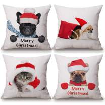 4 Pack Merry Christmas Theme Decorative Throw Pillow Covers Super Cute Animals Wear Christmas Clothes Cotton Linen Pillow Case Cushion Cover 18''x18'' Best Gift (4 Pack Xmas-Animal)