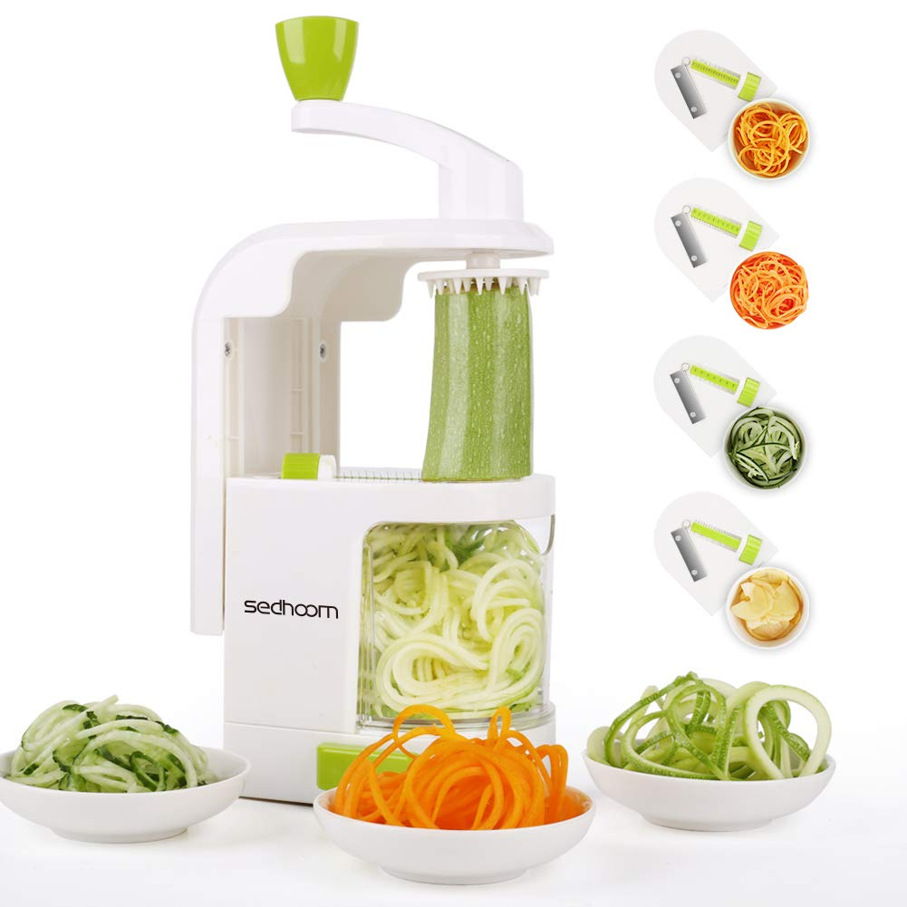 Sedhoom 4-Blade Spiralizer Vegetable Slicer Zucchini Spaghetti Maker Vertical Crank Spiralizer Noodle Maker Veggie Pasta Maker for Low Carb Paleo Gluten-Free Meals, Warm White