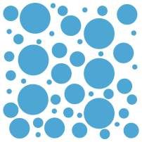 Set of 300 (Ice Blue) Vinyl Wall Decals - Assorted Polka Dots Stickers - Removable Adhesive Safe on Smooth or Textured Walls - Round Circles - for Nursery, Kids Room, Bathroom Decor