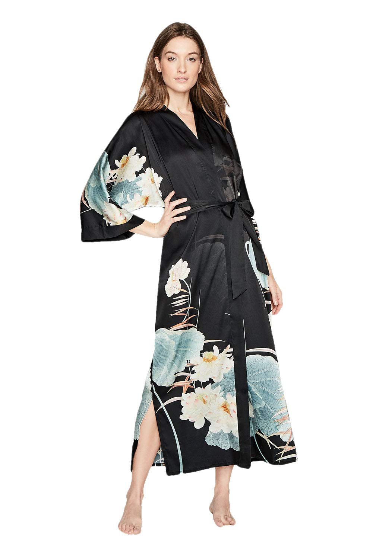 Women's Charmeuse Kimono Robe Long - Watercolor Floral