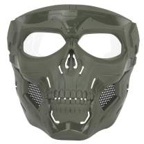 NINAT Airsoft Skull Mask Full Face Tactical Masks with PC Lens Eye Protection for Halloween CS Survival Games Shooting Cosplay Movie Paintball Scary Masks