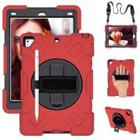 SUPFIVES iPad 6th/5th Generation Case, New iPad 9.7 Inch 2018/2017 Case [Full-Body] & [Shock Proof] Hybrid Armor Protective Case with 360 Rotating Stand & Strap for iPad 5th/6th/ Air 2/ Pro 9.7 (Red)