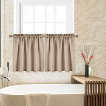 CAROMIO 24 Inch Tier Curtains for Kitchen, Waffle Woven Textured Short Tier Curtains for Bathroom Windows Cafe Kitchen Curtains, Plaza Taupe