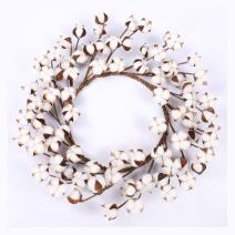 "Real Cotton Wreath - 18""- 23"" Adjustable Stems for Front Door Festival Hanging Decorations Welcome Decor Made from Natural White Cotton Flowers Bolls"