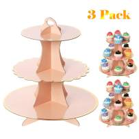 UItraOutlet Set of Three Pink 3 Tiers Cardboard Cupcake Stands, Disposable Paper Cupcake Holder Towers for Wedding, Birthday Parties, Baby Showers and Graduations