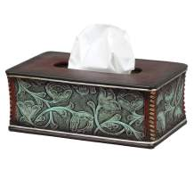 Floral Tooled Turquoise Rustic Tissue Box - Western Bathroom Decor