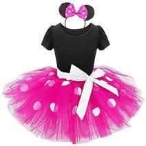 IBTOM CASTLE Baby Girls' Polka Dots Leotard Dresses Fancy Dance Costume Cosplay Tutu Dress up with Ears Headband