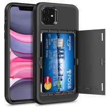Hython Case for iPhone 11 with Hidden Card Holder Wallet Design, Slim Drop Protection Defender Anti-Scratch, Hybrid Soft Rubber Hard Shell Bumper Cover for iPhone 11 6.1-inch 2019, Black