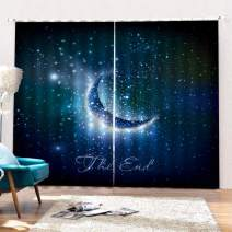 """SK Studio Printing Decor Curtains, 3D Window Curtain Light Blocking for Living Room Bedroom, 2 Panels Set Night Sky and Moon 80"""" W by 84"""" L"""