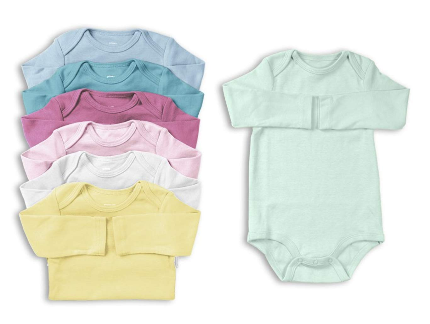 Primary Baby Unisex Long Sleeve All Cotton Bodysuit 7-Pack