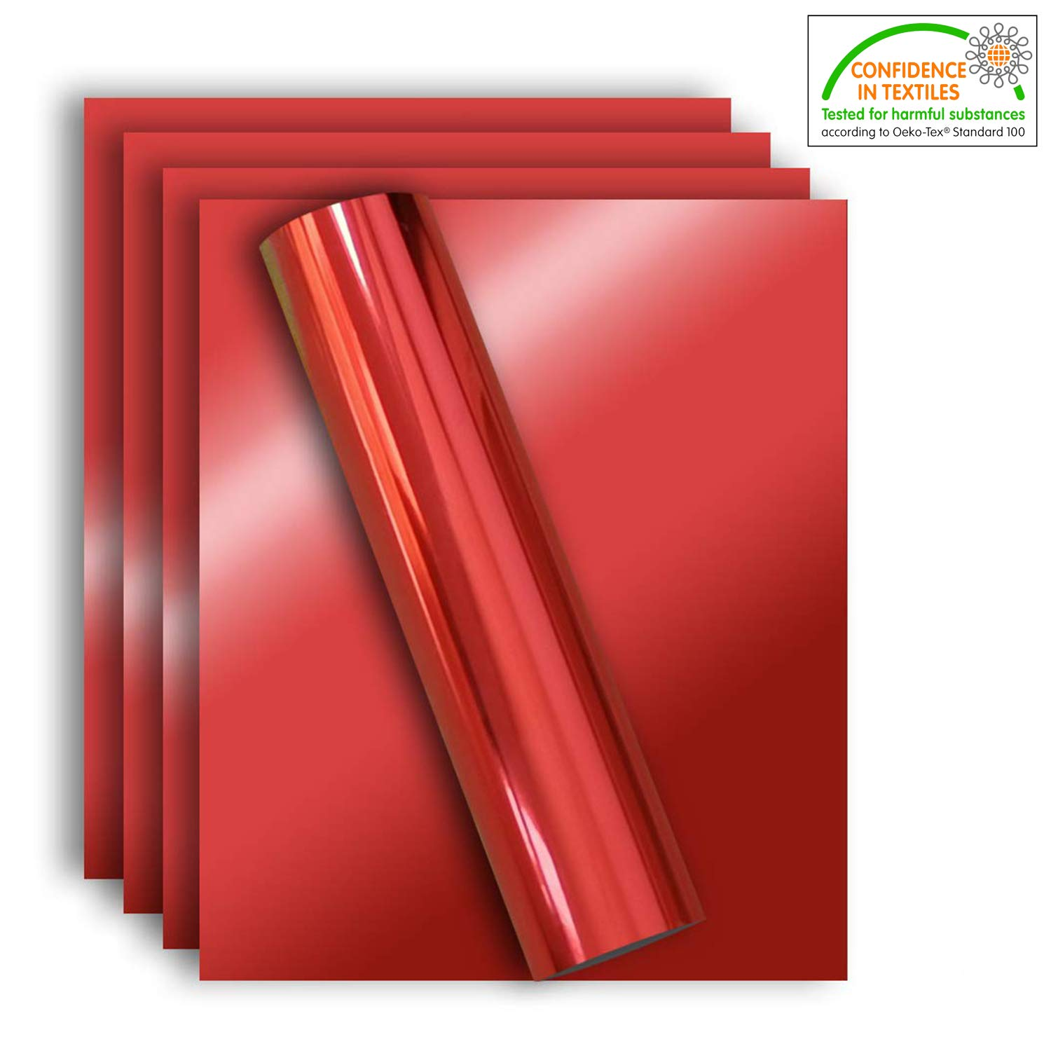 Stretchable Metallic Heat Transfer Vinyl Red Foil, Iron On HTV Bundle for DIY Your Own Christmas Clothes, 12x10 Inch, Pack of 5, Eco-Friendly