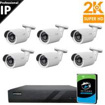 CTVISION 5MP (2.5X1080P) Home Business Security Camera Systems,8-Channel PoE Video Security System(2TB HDD),6pc 5MP Outdoor Weatherproof Nightvision 90° Viewing Angle Bullet PoE IP Security Camera