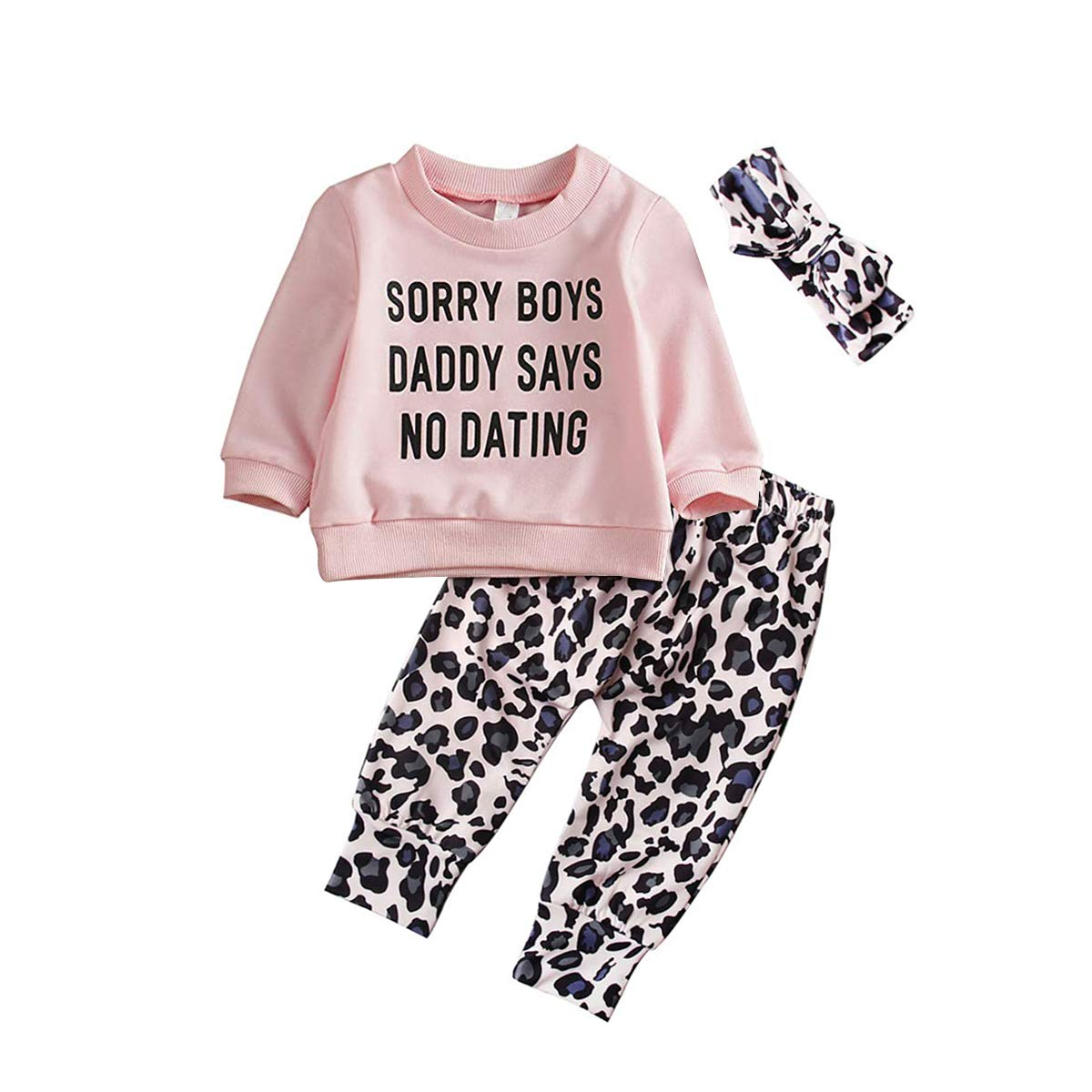 Newborn Baby Girls Clothes Daddy Saying Top Printed T-Shirt Leopard Pants+Headband Sweatshirt Outfit Set