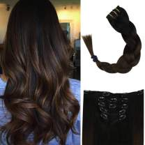 Full Shine Clip Human Hair Extensions 20 Inch Color 1B Off Black Fading To 4 Brown Balayage Extensions For Women 5 Pcs 100 Gram Real Remy Human Hair Extensions Clip In Hair For Short Hair