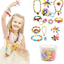 Edycur 250 Pcs Arty Snap Pop Beads Set with Storage Bucket, Arts and Crafts Toys Gifts for Kids Age 4yr-12yr Creative DIY Jewelry Kit for Toddlers Birthday Gift Toys for 4,5,6,7,8 Year Old Girls