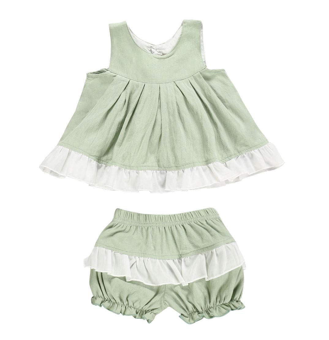 Baby Girls Clothes Set Ruffle Sleeve Floral Top T-Shirt with Wave Point Bloomer Shorts Headband 3pcs Outfits