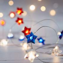 Lights4fun, Inc. 20 Red, White and Blue Star Battery Operated Micro LED Indoor Silver Wire String Lights
