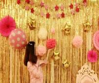2 Pack 3ft x 8ft Gold Foil Fringe Backdrop Metallic Tinsel Door Window Curtain Party Photo Booth Props for Birthday Bachelorette Wedding Graduation Christmas Holiday Prom Decorations