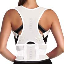 Magnet Back Brace Posture Corrector- Fully Adjustable Support Belt Improves Posture and Provides Lumbar Back Brace, Relieves Pain Upper and Lower Back for Men and Women (White, X-Large)