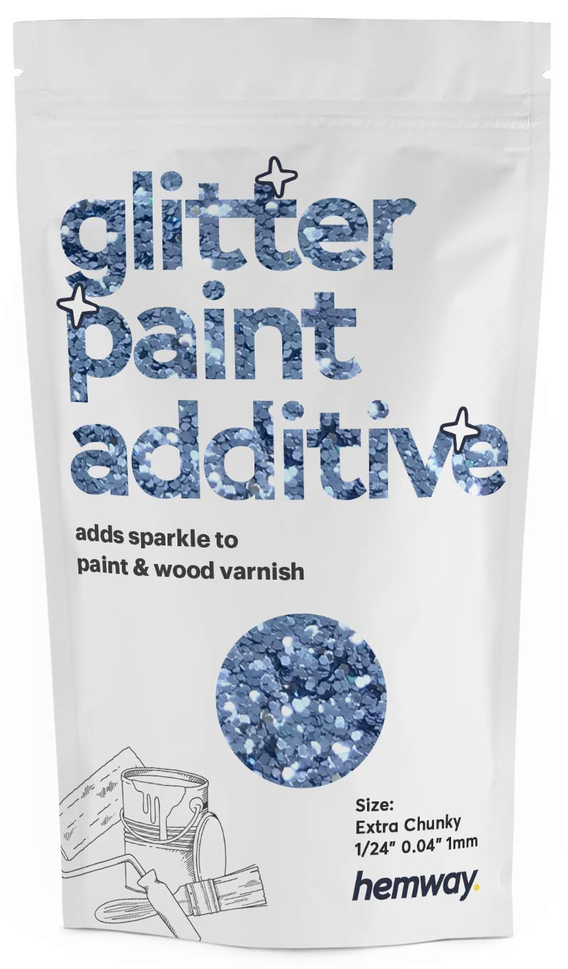 "Hemway Glitter Paint Additive Extra Chunky 1/24"" 0.040"" 1MM Emulsion Water Based Paints Wall Ceiling 100g / 3.5oz (Azure)"