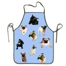 NVJUI JUFOPL Cooking Kitchen Chef Apron Funny Bib Aprons for Women Men - Funny Cute Pugs