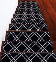 """Stair Treads Vintage Collection Contemporary, Cozy, Vibrant and Soft Stair Treads   Navy & White, 9"""" x 28""""   Pack of 7 [100% Polypropylene]   Tape Included"""