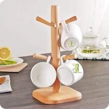 MATECam Wooden Mug Holder Tree with 6 Hooks, Cup Holder Mug Rack for Storage 6 Coffee Cups, Tea Coffee Cup Mug Tree Storage Display Stand
