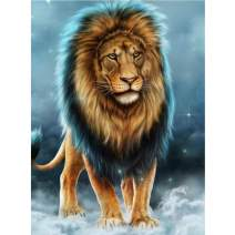 DIY Full Drill Square 5D Diamond Painting Kit, King of The Forest Lion Crystal Cross Stitch Embroidery Arts Craft Supplies for Wall Decor