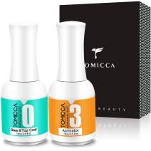 TOMICCA Dipping Top & Base Coat and Activator Large Capacity Liquid Set 2x15ml Dip Powder System Starter Kit No UV/LED Dip Manicure Set of Liquids for Dipping Powder Nail Polish