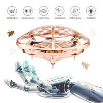 Ehihas Hand Operated Drone, Flying Toys for Kids Mini UFO Drone with 2 Speed, Great Flying Drone Gift for Boys/Girls, Flying Ball Drone Easy Indoor Outdoor Toys(Gold)