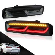 MICROPOWER LED Tail Lights for Chevy Camaro 2016 2017 2018 with Sequential Amber Turn Signals, Full LED DRL,Smoke,YAB-CMR-0278HS